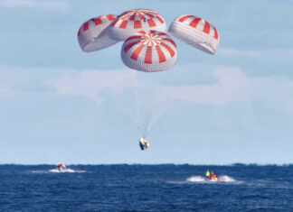 Crew-Dragon-DM-1-parachute-splashdown